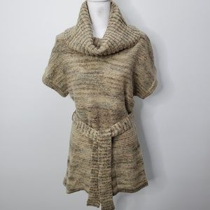 Art and Soul Short Sleeve Cowl Neck Belted Sweater